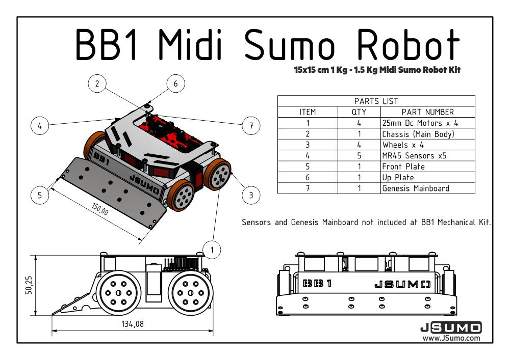 Bb1 Midi Sumo Robot Kit 15x15 1 5kg No Electronics