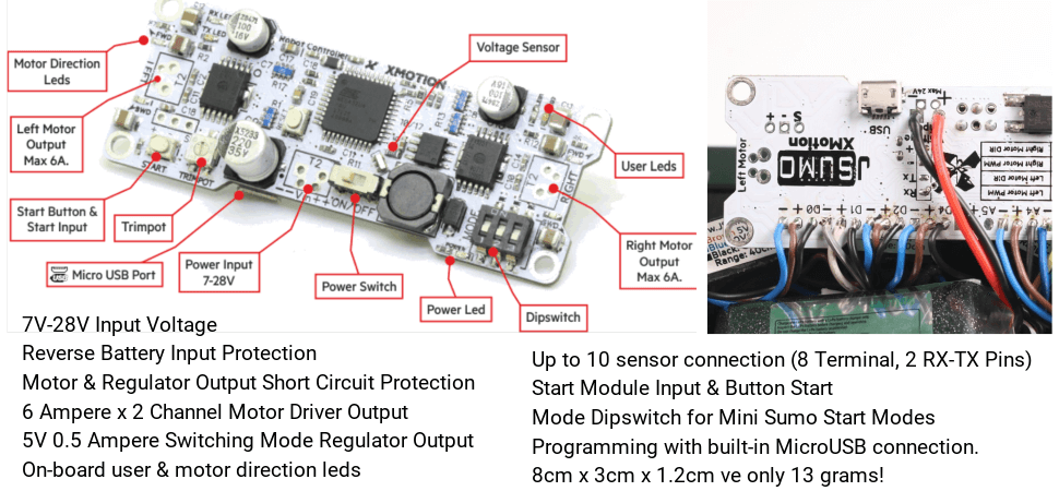 xmotion controller features for mini sumo robot